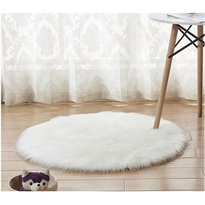 tapis rond en fausse fourrure comme veritable laine tapis man made luxe laine tapis de canape coussin blanc 40 40cm
