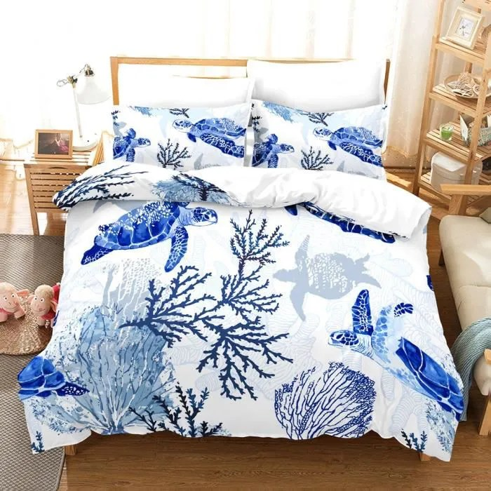 Housse De Couette Kit De Literie Tortue De Mer 3d Blue Twin Taie D Oreiller 51 66 1 Couette 168 228 Eif Achat Vente Housse De Couette Seule Cdiscount