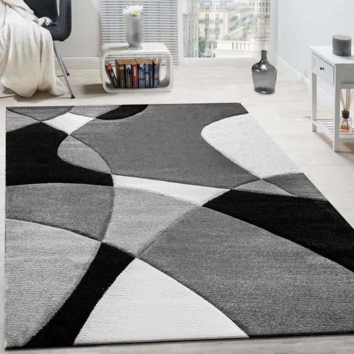 createur tapis moderne geometrique motif decoupe des contours en noir blanc 60x110 cm