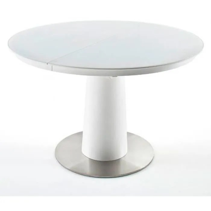 table a manger extensible ronde laque blanc mat