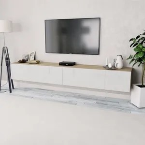 2 pcs meuble tv suspendu en agglomere