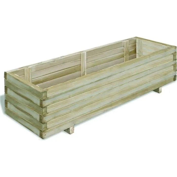 jardiniere en bois rectangulaire 120x40x30 cm bac