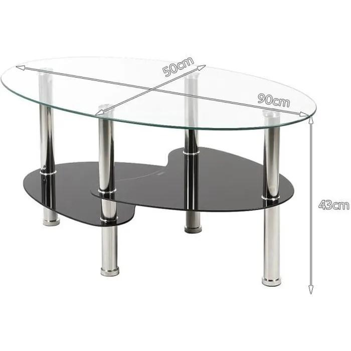 90 x 50 x 43 cm table basse en verre trempe table de salon barcelone transparente et noir