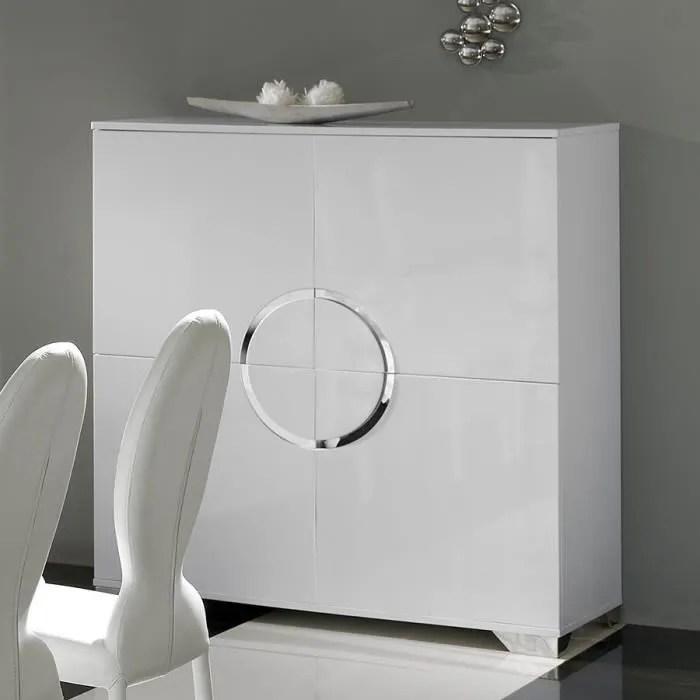 buffet haut blanc laque 4 portes design isaac l 120 x p 50 x h 125 cm blanc