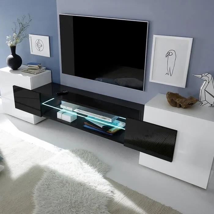 meuble tv design blanc et noir laque luxor avec e
