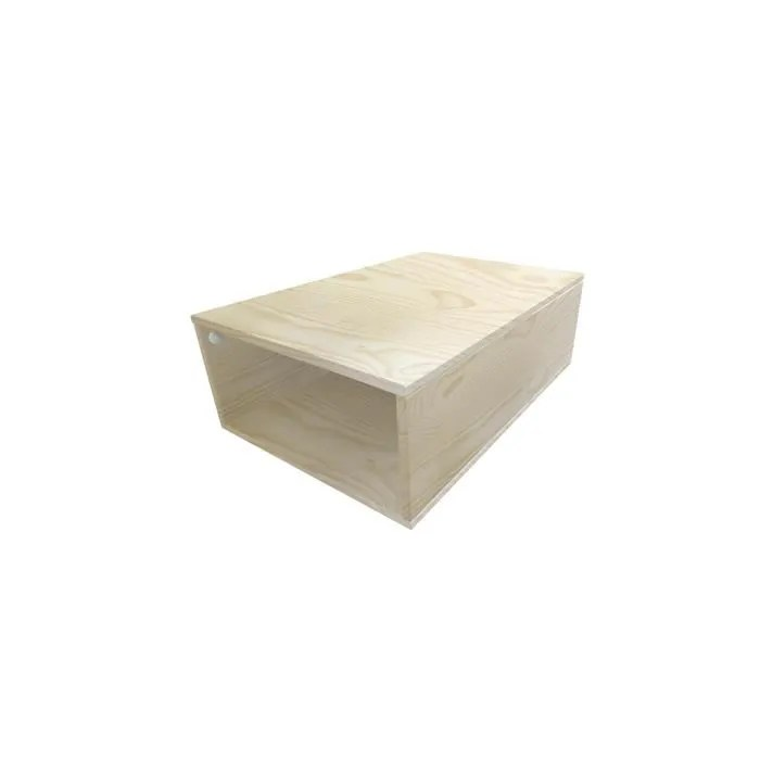 cube de rangement bois profondeur 75 cm couleur vernis naturel