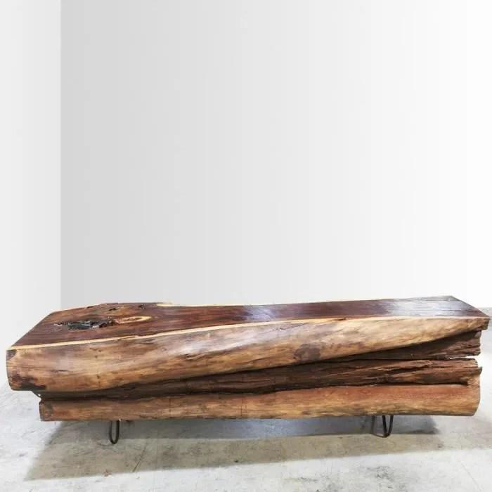 table basse tronc bois noble 160cm