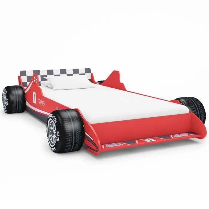 lit voiture de course enfant en bois 90 x 200 cm cadre de lit rouge