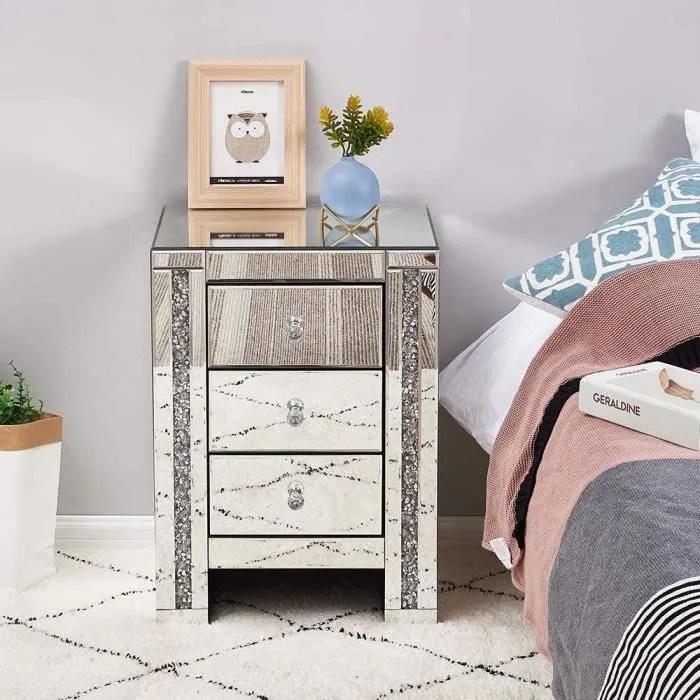 table de chevet miroir en verre meuble de rangement avec 3 tiroirs sur salon chambre bureau 44 x 32 x 60 cm