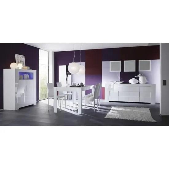 salle a manger complete blanc laque design eleonore table 180 cm avec rallonge buffet haut sans eclairage l 119 x p 50 x h 140 cm