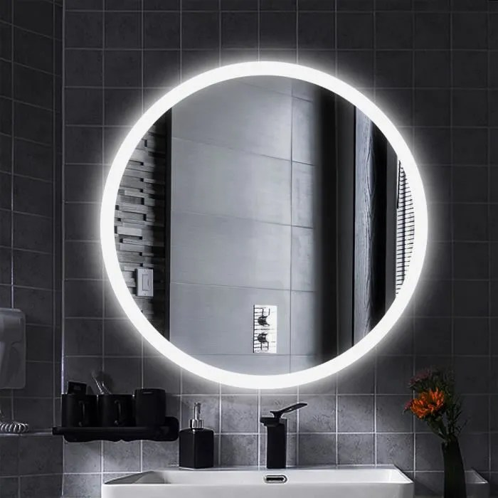 miroir salle de bain rond 60 x 60 cm avec eclairage led integre et commutateur intelligent blanc en verre laizere