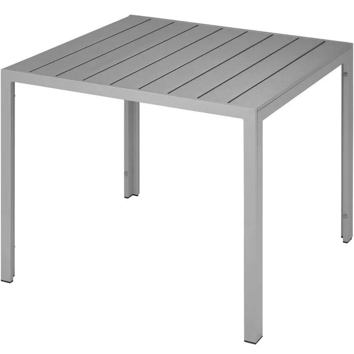 tectake table de jardin d exterieur carree design en aluminium 90 cm x 90 cm x 74 5 cm gris