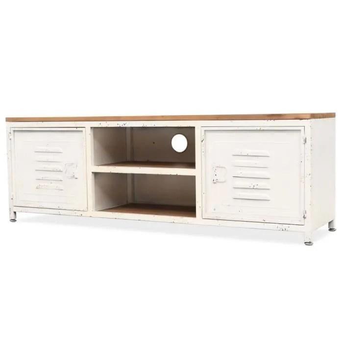 meuble tv industriel en bois acier
