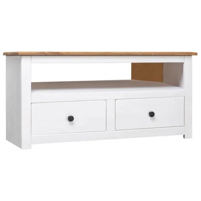 meuble tv meuble de salon contemporain d angle blanc 93x55x49 cm pin assortiment panama