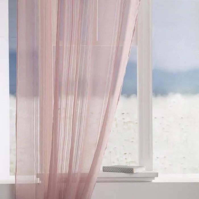 rideau voilage lisa 140x240cm rose clair