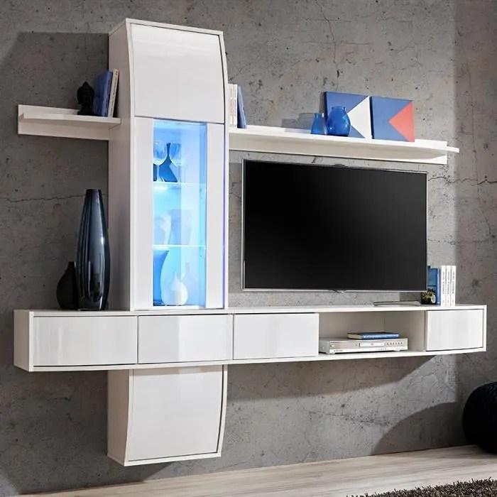 meuble tv suspendu blanc laque design