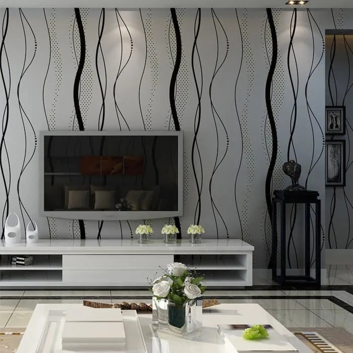 neufu papier peint mural 3d courbe stripe tissu non tisse decor chambre 0 53 x 10m