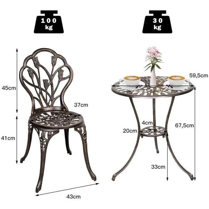 deux chaises en aluminium table bistrot