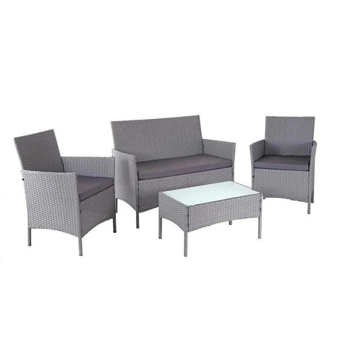 salon de jardin avec fauteuils banc et table en poly rotin gris et coussin anthracite mdj04147