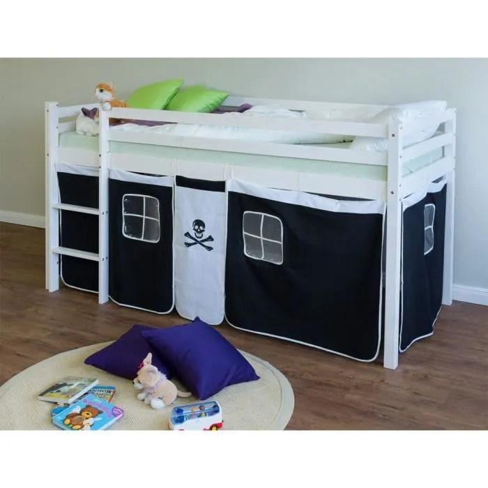 lit enfant superpose en pin massif avec echelle et rideaux noir blanc