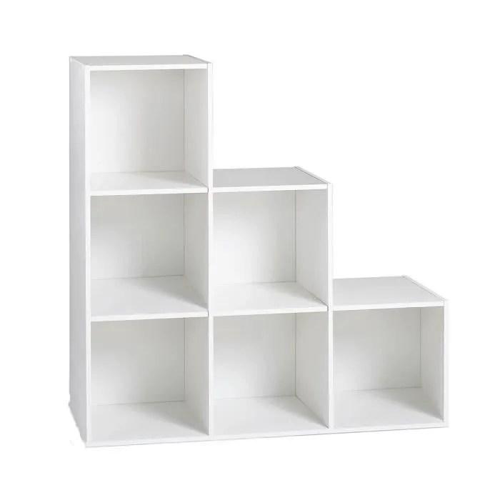 compo meuble en escalier contemporain blanc mat