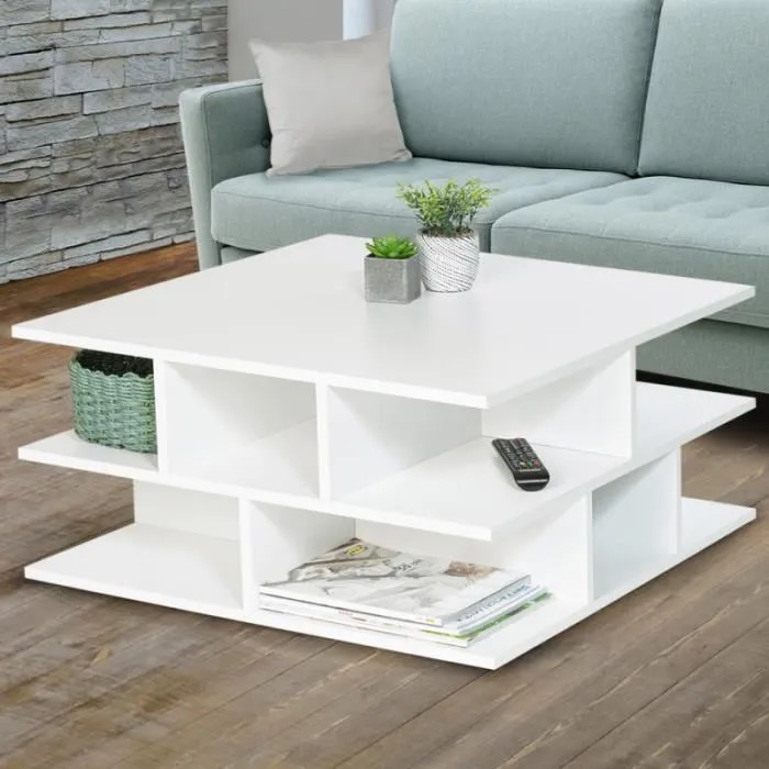 table basse blanche multi rangements