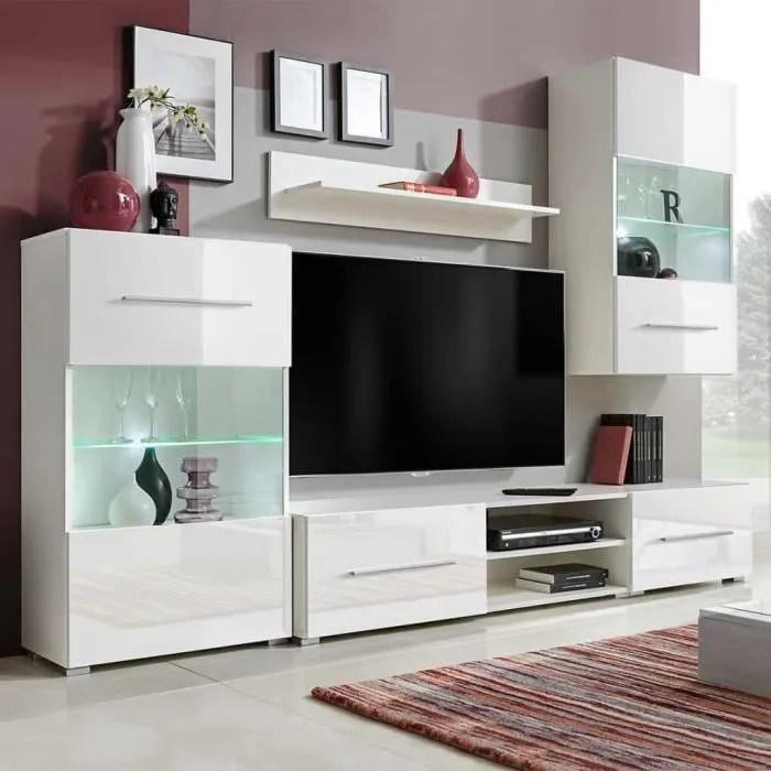 meuble tv mural ensemble de sejour contemporain avec eclairage led 260 x 40 x 195 cm5 pieces blanc
