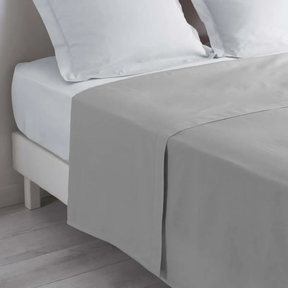 drap plat lit 1 personne 180 x 290 cm 100 coton 57 fils couleur gris galet