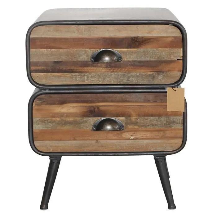 table de nuit en metal bois bois noir