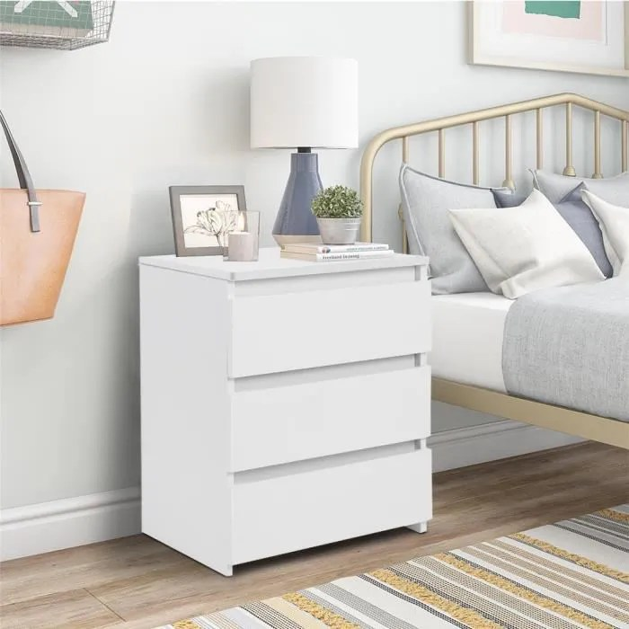 table de chevet moderne blanche avec 3 tiroirs amovible etagere table d appoint pai