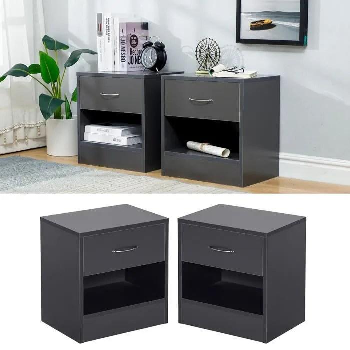 lot de 2 tables de nuit noir contemporain table de chevet en bois avec poignee en aluminium