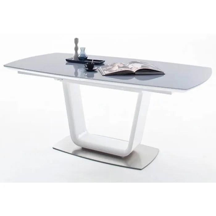 table a manger rectangulaire blanc laque