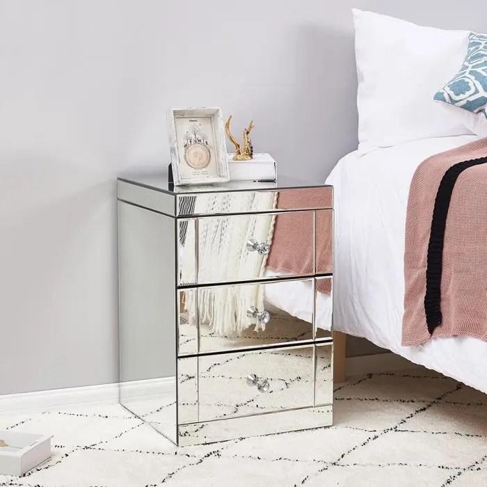 table de chevet miroir en verre meuble de rangement avec 3 tiroirs sur salon chambre bureau 40 x 40 x 58 cm