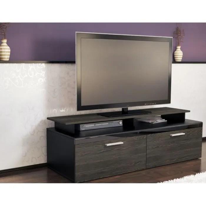 meuble tv noir bois wenge 140 cm