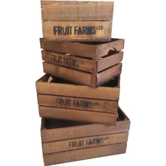 set de 4 cageots de pommes caisses cagettes casiers en bois marron 21 9