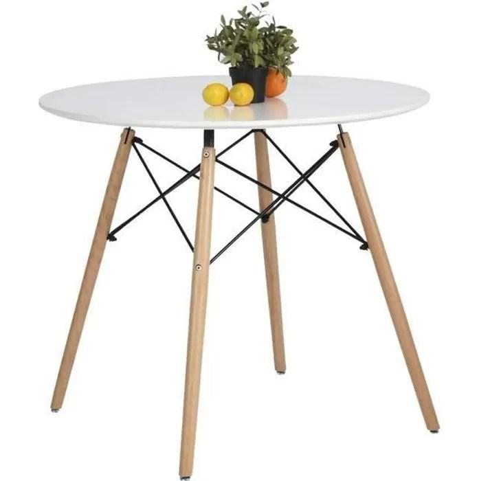 aingoo table a manger ronde scandinave hauteur 71cm blanc laque