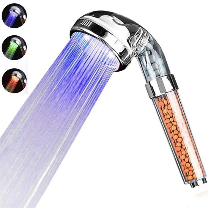 pommeau de douche douchette filtre 3 modes led