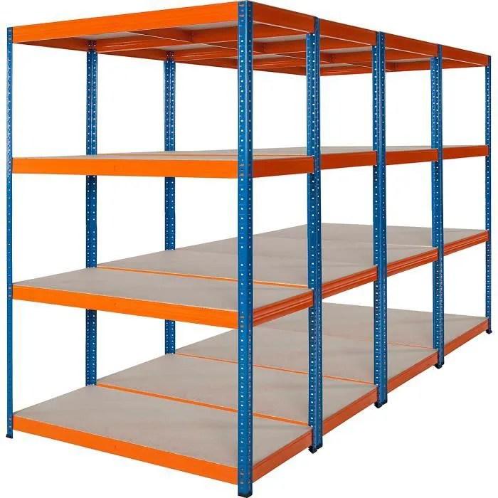 lot economique de 4 x rayonnage pour charges lourdes profondeur 60 cm 300 kg charge max par etagere rayonnage etagere entrepot