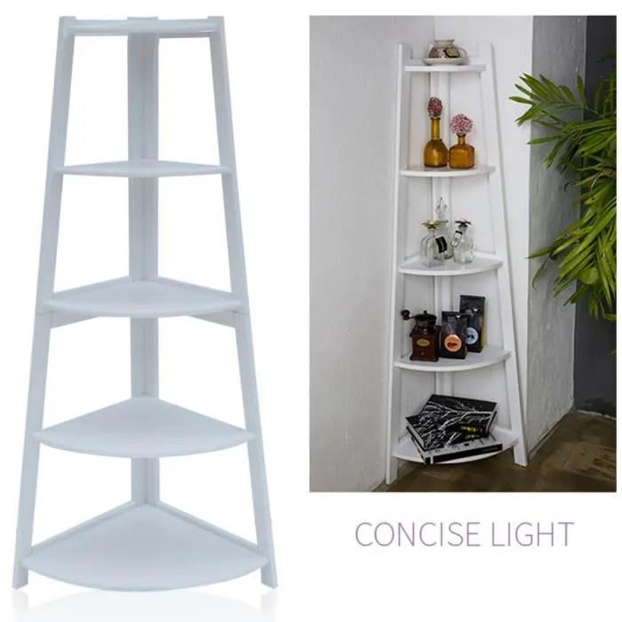 meuble etagere au coin 5 niveaux courbe blanc en bois pour salle de bain achat vente meuble etagere meuble etagere au coin 5 cdiscount
