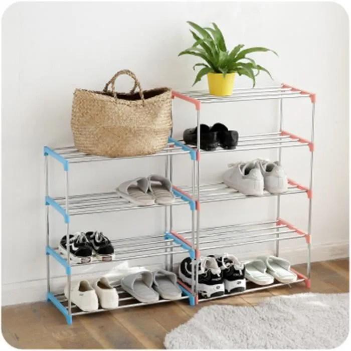 etagere a chaussures metal etagere a chaussures tour meuble de rangement chaussure bricolage rack blue 4 niveaux