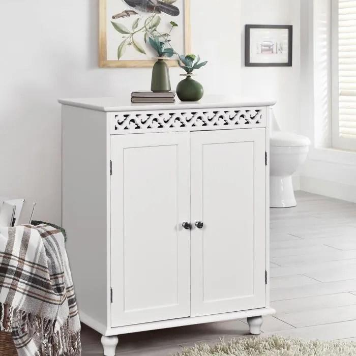 Meuble Bas Salle De Bain Commode De Rangement Toilette En Bois En Mdf Blanc Avec 2 Portes 60 X 35 X 77cm Achat Vente Meuble Bas Commode Sdb Buffet De