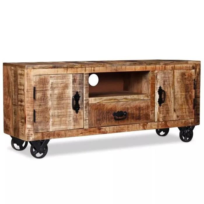 haute qualite meuble tv bois de manguier brut 120 x 30 x 50 cm