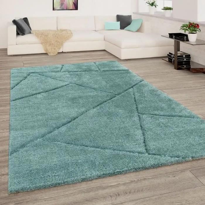 tapis de salon poils longs vert doux shaggy moelle