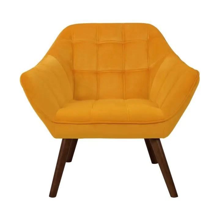 fauteuil simba en velours jaune