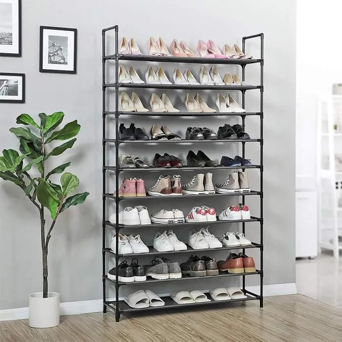 luxs etageres meuble chaussures rangement 10 niveaux pas cher structure stable en metaux 100 30 176cm