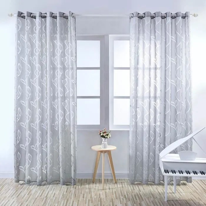 rideau voilage feuillet gris 100 x 250 cm