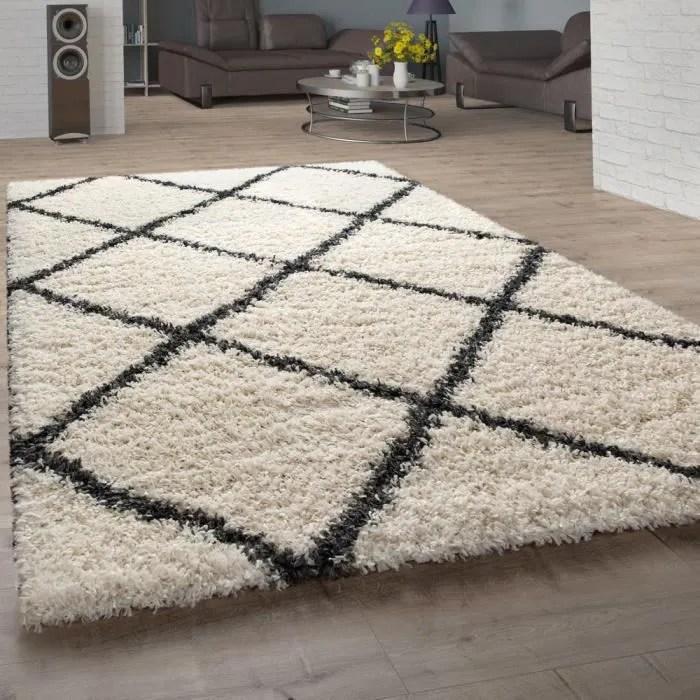 tapis poils longs shaggy pour salon design scand