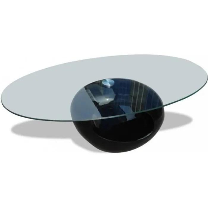 tables basses table basse en verre pied noir laque