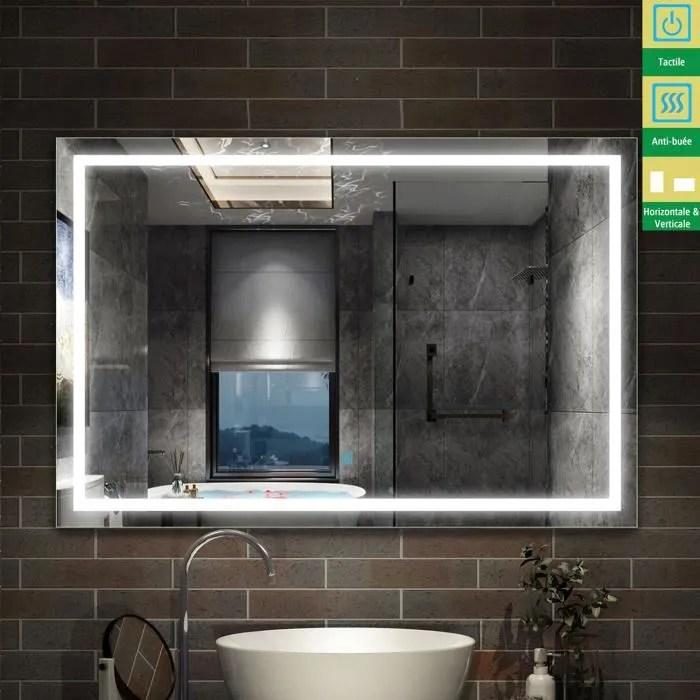 Miroir Salle De Bain 100 X 80cm Miroir Grand Miroir Mural Rectangulaire Anti Buee Interrupteur Tactile Blanc 4mm 24w Achat Vente Miroir Salle De Bain Cdiscount