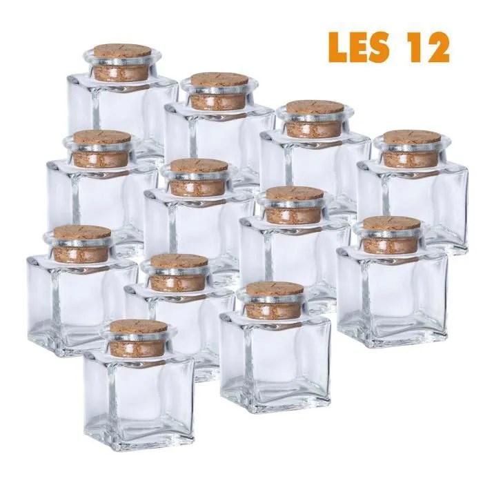 lot de 12 mini pots carres deco de table bouchon liege transparent